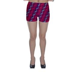 Red Turquoise Black Zig Zag Background Skinny Shorts