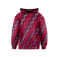 Red Turquoise Black Zig Zag Background Kids  Pullover Hoodie