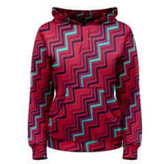 Red Turquoise Black Zig Zag Background Women s Pullover Hoodie