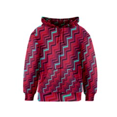 Red Turquoise Black Zig Zag Background Kids  Zipper Hoodie