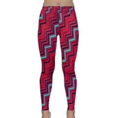 Red Turquoise Black Zig Zag Background Classic Yoga Leggings