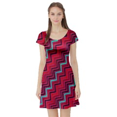 Red Turquoise Black Zig Zag Background Short Sleeve Skater Dress