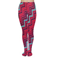 Red Turquoise Black Zig Zag Background Women s Tights