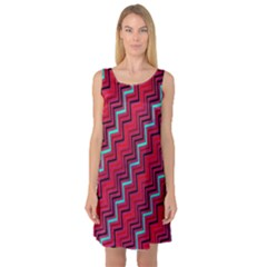 Red Turquoise Black Zig Zag Background Sleeveless Satin Nightdress