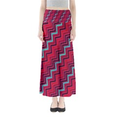 Red Turquoise Black Zig Zag Background Full Length Maxi Skirt