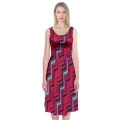 Red Turquoise Black Zig Zag Background Midi Sleeveless Dress