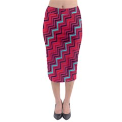 Red Turquoise Black Zig Zag Background Midi Pencil Skirt