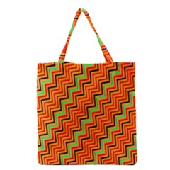 Orange Turquoise Red Zig Zag Background Grocery Tote Bag