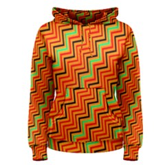 Orange Turquoise Red Zig Zag Background Women s Pullover Hoodie