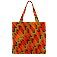 Orange Turquoise Red Zig Zag Background Zipper Grocery Tote Bag