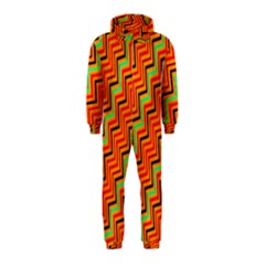 Orange Turquoise Red Zig Zag Background Hooded Jumpsuit (Kids)