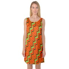Orange Turquoise Red Zig Zag Background Sleeveless Satin Nightdress