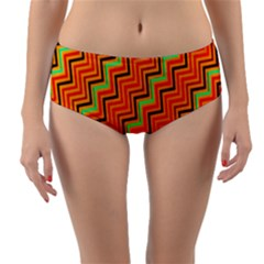 Orange Turquoise Red Zig Zag Background Reversible Mid Waist Bikini Bottoms