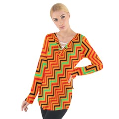 Orange Turquoise Red Zig Zag Background Women s Tie Up Tee