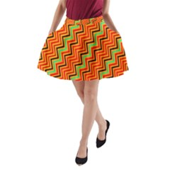 Orange Turquoise Red Zig Zag Background A Line Pocket Skirt