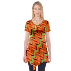 Orange Turquoise Red Zig Zag Background Short Sleeve Tunic