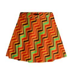 Orange Turquoise Red Zig Zag Background Mini Flare Skirt