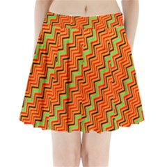 Orange Turquoise Red Zig Zag Background Pleated Mini Skirt