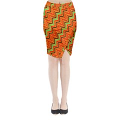 Orange Turquoise Red Zig Zag Background Midi Wrap Pencil Skirt