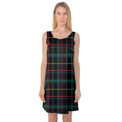 Tartan Plaid Pattern Sleeveless Satin Nightdress