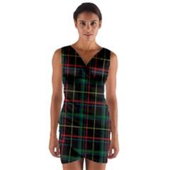 Tartan Plaid Pattern Wrap Front Bodycon Dress