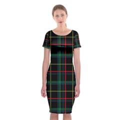 Tartan Plaid Pattern Classic Short Sleeve Midi Dress