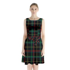 Tartan Plaid Pattern Sleeveless Waist Tie Chiffon Dress