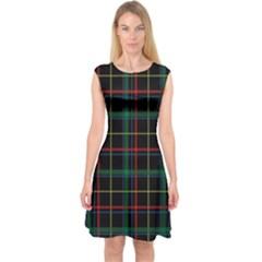Tartan Plaid Pattern Capsleeve Midi Dress