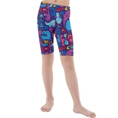 Hipster Pattern Animals And Tokyo Kids  Mid Length Swim Shorts