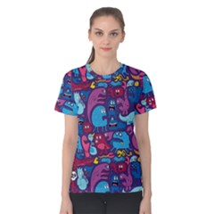 Hipster Pattern Animals And Tokyo Women s Cotton Tee