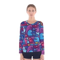Hipster Pattern Animals And Tokyo Women s Long Sleeve Tee