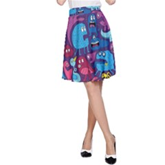 Hipster Pattern Animals And Tokyo A Line Skirt