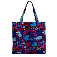 Hipster Pattern Animals And Tokyo Zipper Grocery Tote Bag