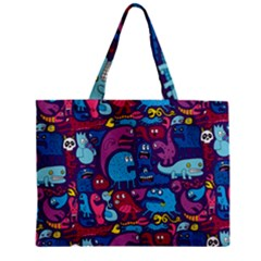 Hipster Pattern Animals And Tokyo Zipper Mini Tote Bag