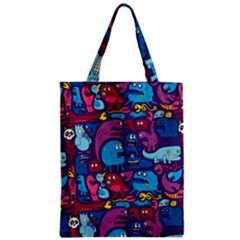 Hipster Pattern Animals And Tokyo Zipper Classic Tote Bag