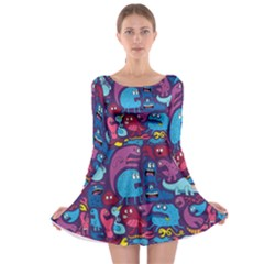 Hipster Pattern Animals And Tokyo Long Sleeve Skater Dress