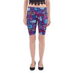 Hipster Pattern Animals And Tokyo Yoga Cropped Leggings