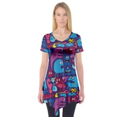 Hipster Pattern Animals And Tokyo Short Sleeve Tunic