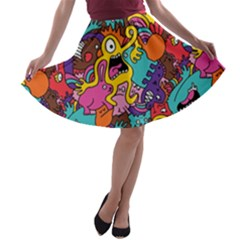 Monster Patterns A-line Skater Skirt