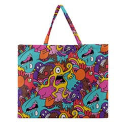 Monster Patterns Zipper Large Tote Bag