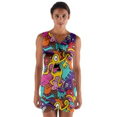 Monster Patterns Wrap Front Bodycon Dress
