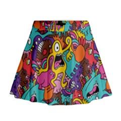 Monster Patterns Mini Flare Skirt