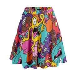 Monster Patterns High Waist Skirt