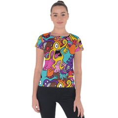 Monster Patterns Short Sleeve Sports Top