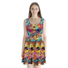 Monster Patterns Split Back Mini Dress