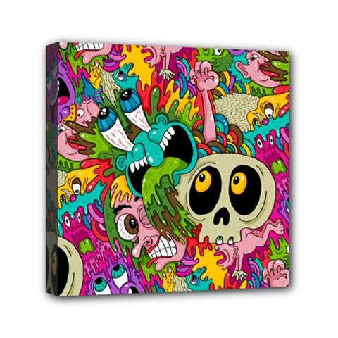 Crazy Illustrations & Funky Monster Pattern Mini Canvas 6  X 6