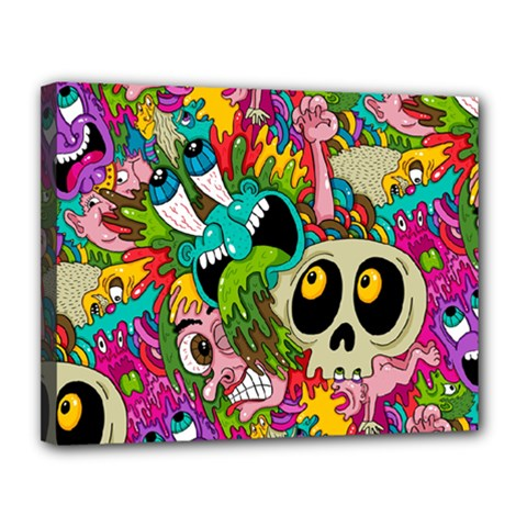 Crazy Illustrations & Funky Monster Pattern Canvas 14  x 11