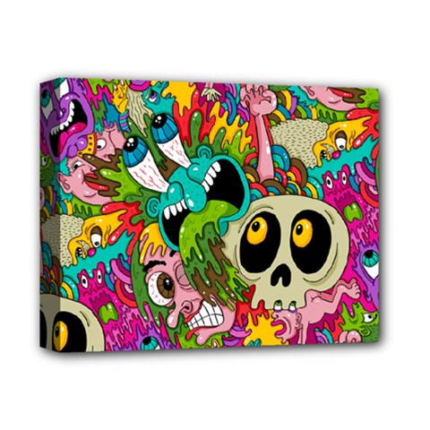 Crazy Illustrations & Funky Monster Pattern Deluxe Canvas 14  X 11