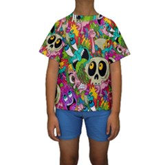 Crazy Illustrations & Funky Monster Pattern Kids  Short Sleeve Swimwear