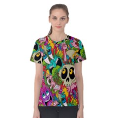 Crazy Illustrations & Funky Monster Pattern Women s Cotton Tee